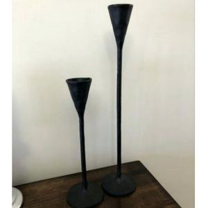 Pottery barn 2 cast iron candle stick holder set